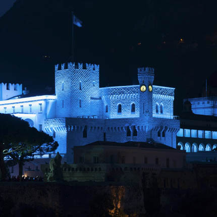 To mark the 70th anniversary of the UN, the Palace of Monaco was illuminated in blue on that evening