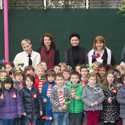 Visit of H.S.H. Princess Charlene at  Ecole des Carmes