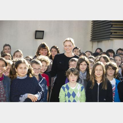 H.S.H. Princess Charlene of Monaco meets young people and teaching staff from the Principality