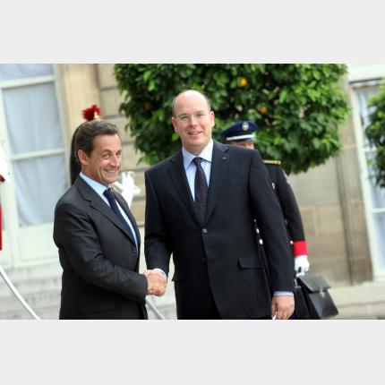 Official meeting between H.S.H. Prince Albert II and Nicolas Sarkozy, President of the Republic of...